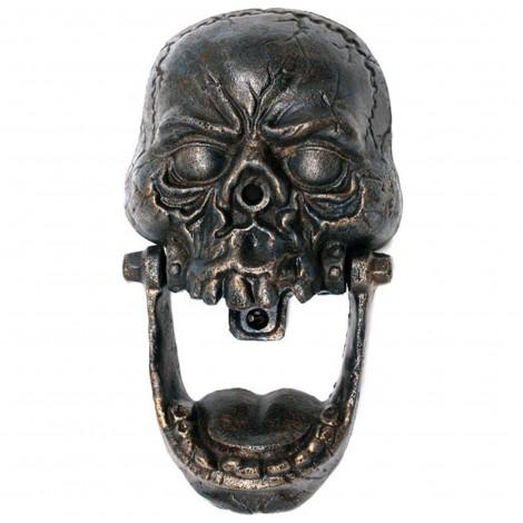 Heurtoir de porte en fonte tête de mort - 25 cm