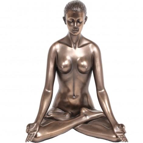 Statue érotique femme nue en résine position du lotus - 14 cm