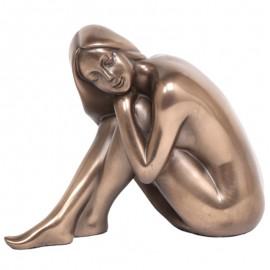 Statue érotique femme nue en résine tête sur les genoux - 12 cm