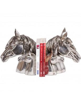 Serre livres en résine argentée têtes de cheval et poulains - 24 cm