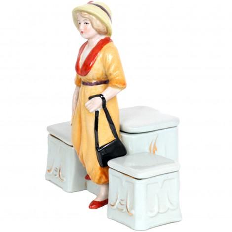 Service à condiment en porcelaine statue femme élégante sel et poivre moutarde - 15 cm