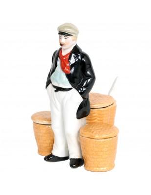 Service à condiment en porcelaine statue marin sel et poivre moutarde - 16 cm