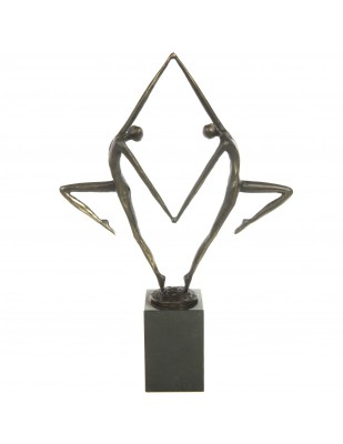 Statue patine bronze moderne et design deux personnages nus - 45 cm