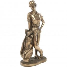 Statue en résine golfeuse avec son sac - 22 cm