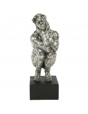Statue design en résine homme nu accroupit la tête dans les mains - 34 cm
