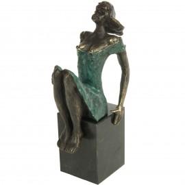Statue double patine bronze jeune fille a la robe verte - 19 cm