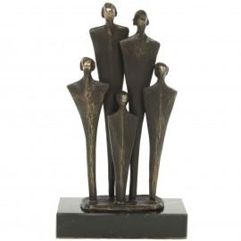 Statue patine bronze famille trois enfants - 18 cm