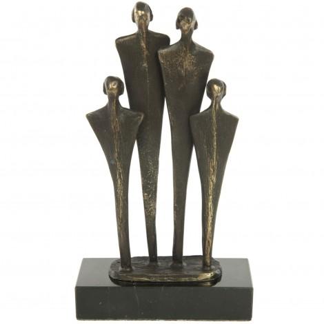 Statue patine bronze famille deux enfants - 18 cm