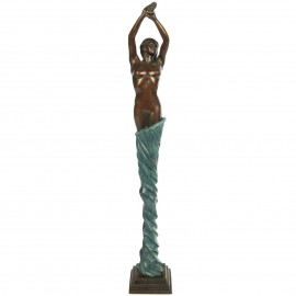Statue érotique en bronze femme au voile bleu - 47 cm