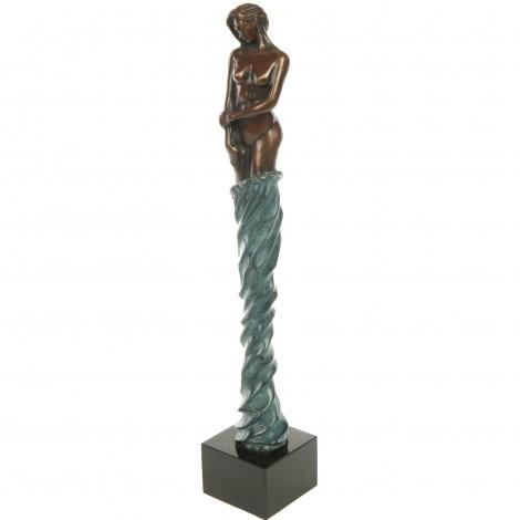 Statue érotique en bronze femme au voile bleu mains le long du corps - 48 cm