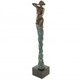 Statue érotique en bronze femme au voile bleu mains derrière - 45 cm