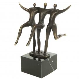 Statue patine bronze antique trois hommes - 20 cm