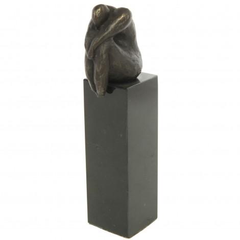 Statue patine bronze antique homme assis sur colonne - 17 cm