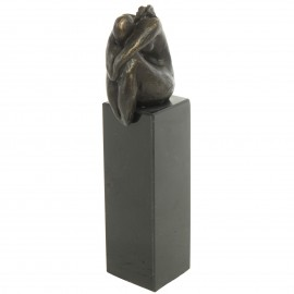 Statue patine bronze antique femme assise sur colonne - 18 cm