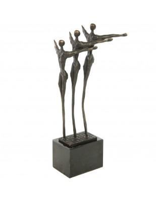 Statue patine bronze trois hommes en file indienne - 25 cm