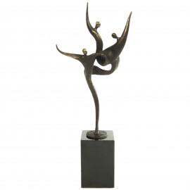 Statue patine bronze trois hommes sur le même pied - 33 cm