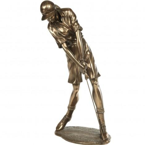 Statue en résine golfeuse en action patine acier - 54 cm