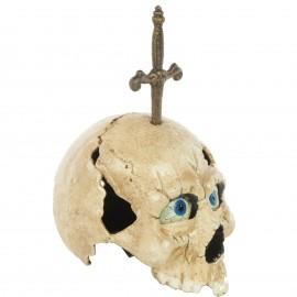 Statue tête de mort a système en fonte - 27 cm