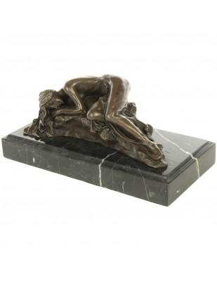 Statue érotique en bronze et marbre femme nue allongée - 22 cm