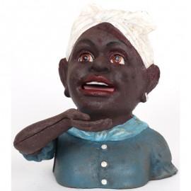 Tirelire a système femme noire turban blanc en fonte - 18 cm
