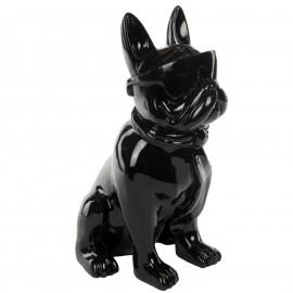 Statue chien bouledogue Français à lunette en résine noir -Pierre- 37 cm