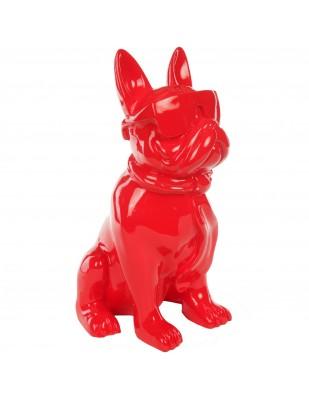 Statue chien bouledogue Français à lunette en résine rouge -Paul- 37 cm