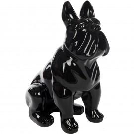 Statue chien bouledogue Français en résine noire - Prudent - 77 cm