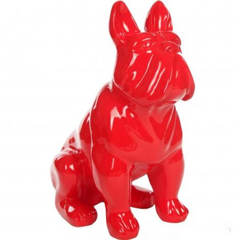 Statue chien bouledogue Français en résine rouge - Paulin - 77 cm