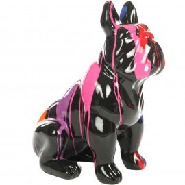 Statue chien bouledogue Français en résine multicolore - Pauli - 77 cm