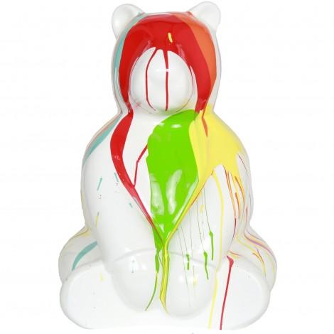 Statue en résine ours assis multicolore fond blanc - Julien - 70 cm