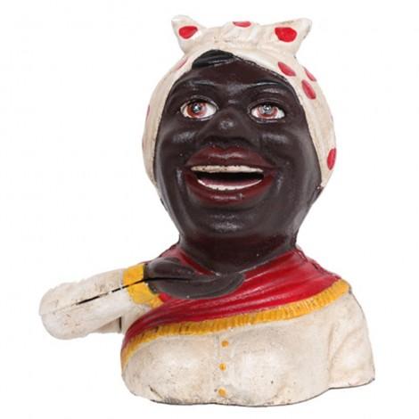 Tirelire a système femme noire turban blanc et rouge en fonte - 18 cm