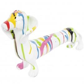 Statue chien teckel multicolore fond blanc en résine - 40 cm