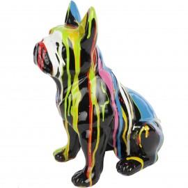 Statue en résine bouledogue Français assis multicolore fond noir - filou - 31 cm