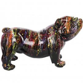 Statue en résine chien bouledogue anglais astre noir - 60 cm