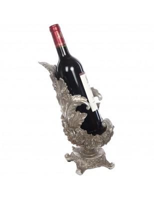Porte-bouteille cave à vin en résine argenté de style Louis XV - 28 cm