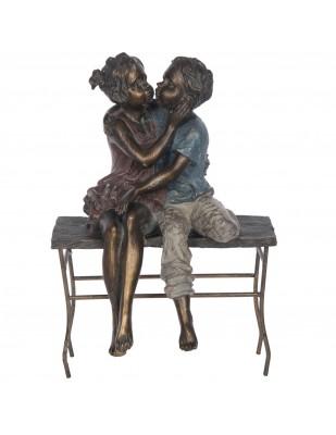 Statue garçon et fille assis sur un banc en résine et fer - 41 cm