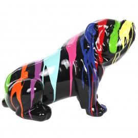 Statue en résine chien bouledogue anglais  assis fond noir - Gustave - 52 cm