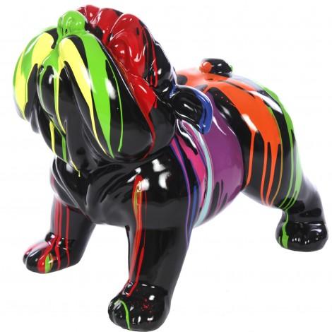 statue r sine chien bouledogue anglais multicolore fond noir 60 cm. Black Bedroom Furniture Sets. Home Design Ideas