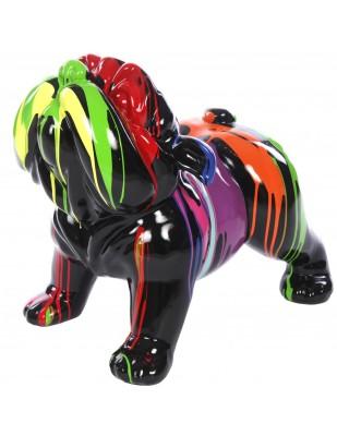 Statue en résine chien bouledogue anglais multicolore fond noir - Ghislain - 60 cm