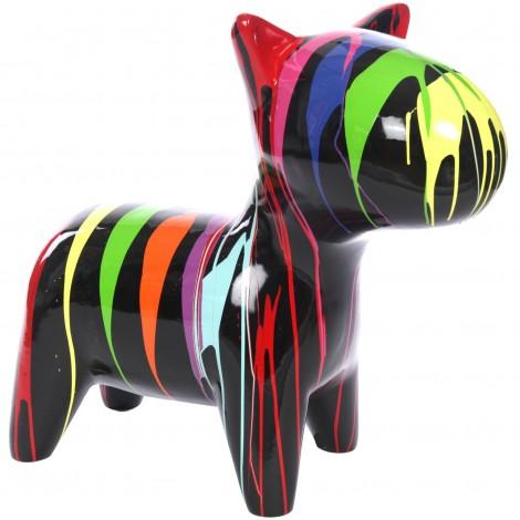 Statue chien design multicolore en résine - Pollux - 80 cm