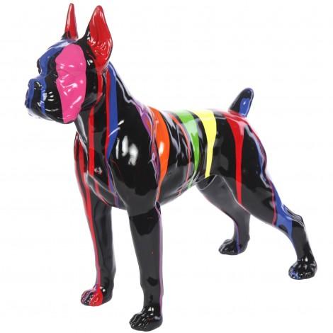 Statue en résine CHIEN boxer multicolore fond noir-Achille - 52 cm
