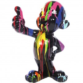 Statue personnage enfant homme en résine multicolore fond noir - 76 cm