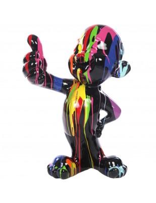 Statue bonhomme personnage en résine multicolore fond noir - 76 cm