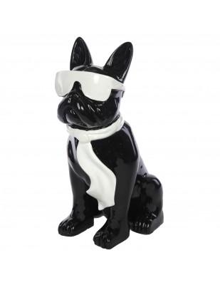 Statue chien bouledogue Français à lunette en résine noir et blanc -Paolo- 37 cm