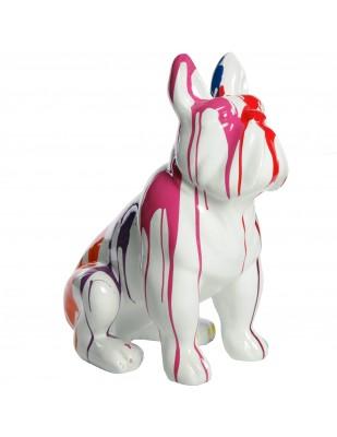 Statue chien bouledogue Français en résine multicolore - Tony - 77 cm