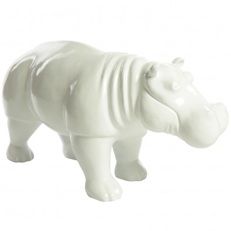 Statue Hippopotame En Résine 96 Nicolas Blanc Cm gb76yYf