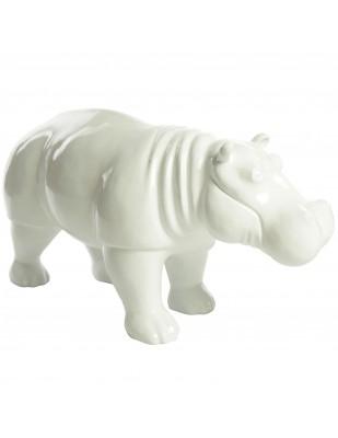 Statue en résine hippopotame blanc - Nicolas - 96 cm