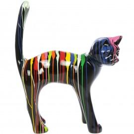 Statue en résine CHAT multicolore fond noir (martin) - 105 cm