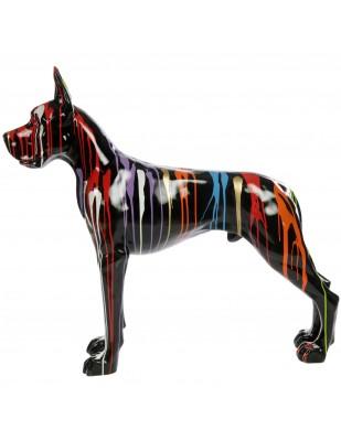 Statue en résine CHIEN dogue allemand multicolore fond noir - 120 cm
