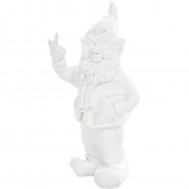 Statue en résine NAIN de jardin doigt d'honneur blanc - 33 cm